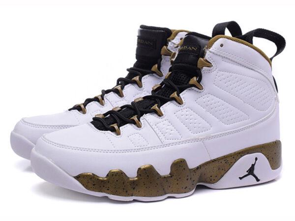 Nike Air Jordan 9 белые с золотым (40-46)