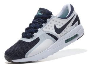 Кроссовки Nike Air Max 87 белые с темно-синим мужские - фото слева