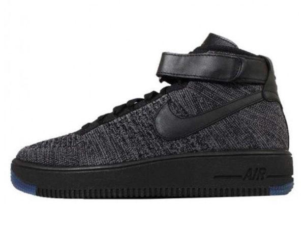 Nike Air Force 1 Ultra Flyknit Mid серые с черным (40-45)