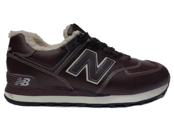 New Balance 574 на меху коричневые с белым (35-46)