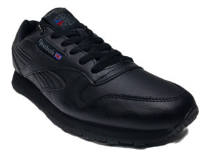 Зимние Reebok Classic Leather черные - фото спереди