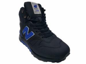 Зимние New Balance 1300 Mid черные с синим - фото спереди