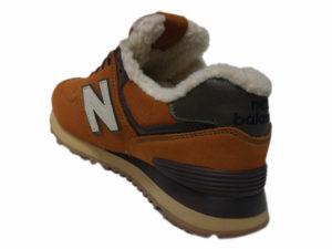 Зимние New Balance 574 Suede песочные с коричневым и белым