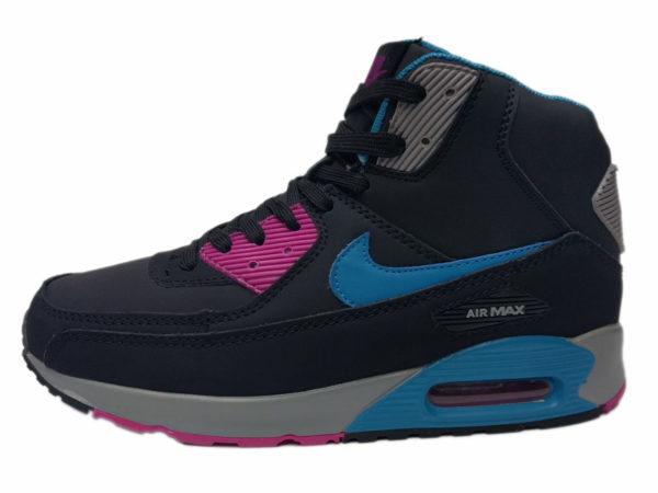 Зимние Nike Air Max 90 Mid черные с синим