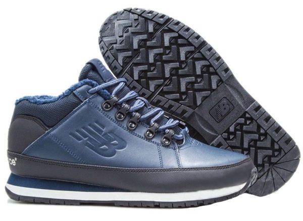 Кроссовки New Balance 754 с мехом кожаные синие 40-44