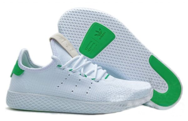 Adidas x Pharrell Williams Tennis Hu белые с зеленым (35-44)