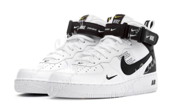 Nike Air Force 1 Mid 07 LV8 Utility белые с черным (35-44)