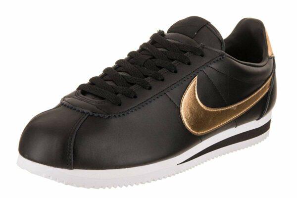 Золотые кожаные кроссовки