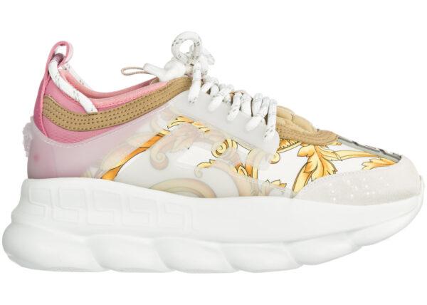 Кроссовки Versace Chain Reaction бело-розовые-цветы 35-39