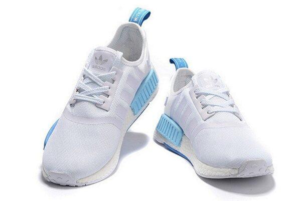 Adidas NMD R1 белые с серым и голубым (35-40)