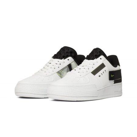 Nike Air Force 1 Type Low N. 354 черно-белые кожаные мужские (40-44)