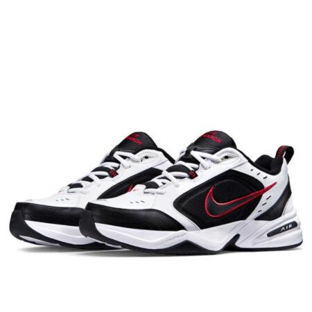 Nike Air Monarch черно-белые с красным (35-44)