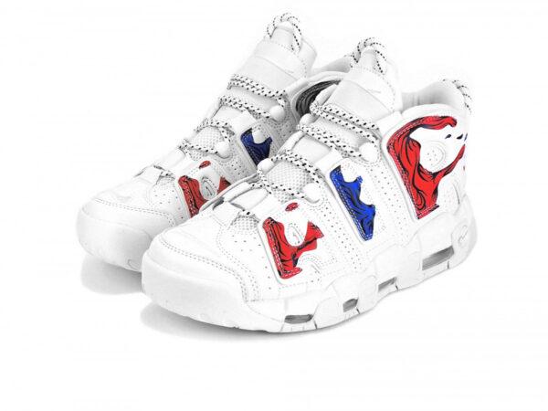 Nike Air More Uptempo белые с красно-синим кожаные мужские (40-45)