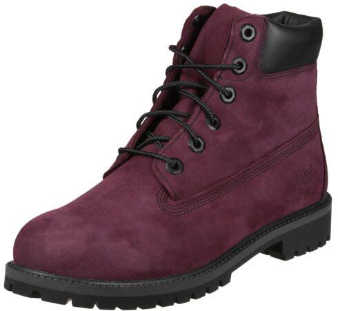 Зимние ботинки Timberland 6 Inch Boots с мехом бордовые нубук женские (35-39)
