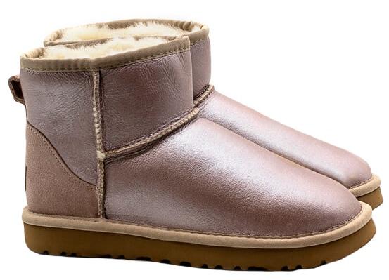 Зимние Ботинки UGG Classic Bailey Mini с мехом перламутровые (35-40)