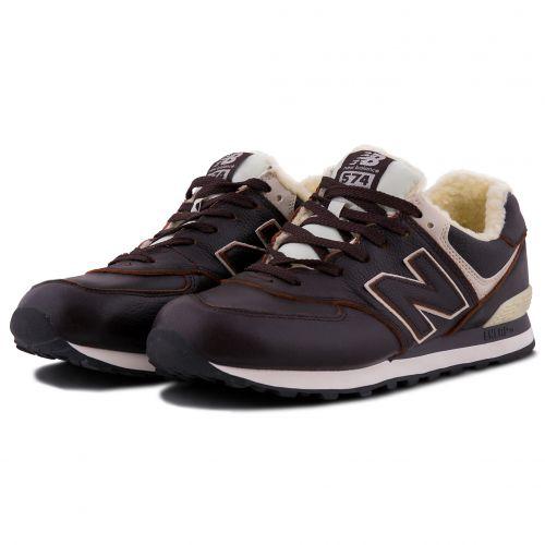 Зимние New Balance 574 с мехом коричневые (40-45)