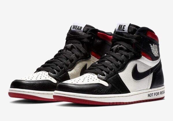 Nike Air Jordan 1 Not for Resale черно-белые с красным кожаные мужские (40-44)