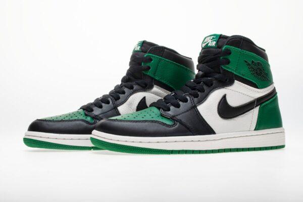Nike Air Jordan 1 Green Pine бело-зелено-черные кожаные мужские-женские (35-45)