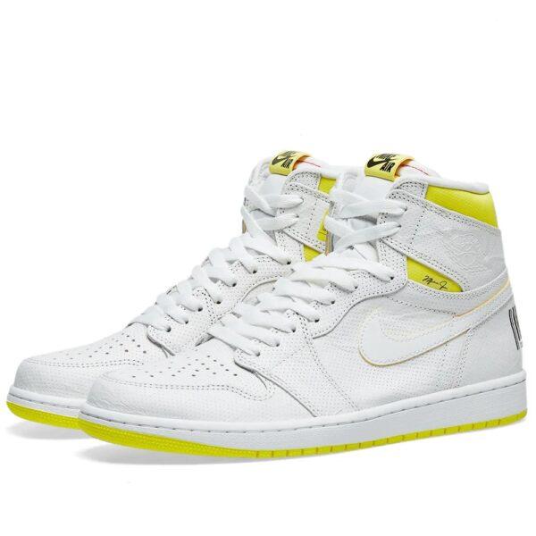 Nike Jordan 1 Retro High first class Flight белые с желтым (35-45)
