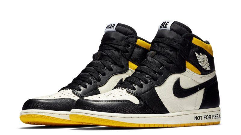 Nike Air Jordan 1 not for resale черно-белые с желтым (40-44)