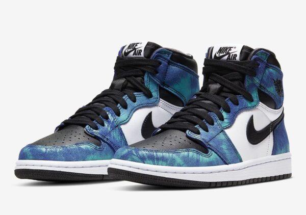 Nike Air Jordan 1 Retro High og Tie-Dye сине-бело-черные кожаные мужские-женские (35-44)