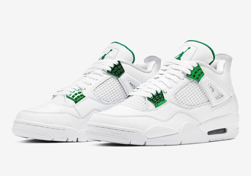 Nike Air Jordan 4 Green Metallic белые (35-39)