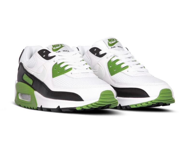 Nike Air Max 90 серо-белые с зеленым (40-44)