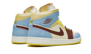 Nike Air Jordan 1 Mid SE Fearless x Maison Chateau Rouge бежево-голубой с коричневым (35-39)