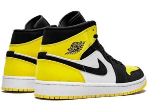 Nike Air Jordan 1 Mid Se Yellow Toe черно-белые с желтым (35-39)