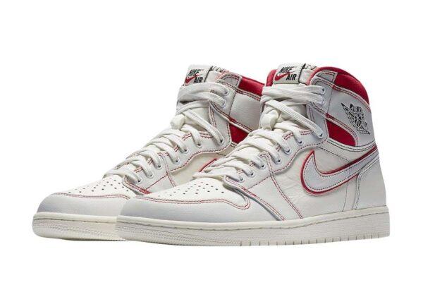 Nike Air Jordan 1 Retro High og Phantom белые с красным кожаные женские (35-39)