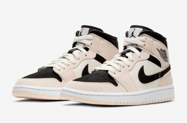 Nike Air Jordan 1 Mid Barely Orange бежево-черные с белым кожа-нубук женские (35-39)