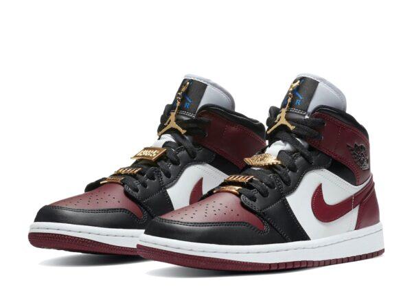 Nike Air Jordan 1 Mid SE Black Dark Beetroot бордово-черно-белые кожаные женские (35-39)