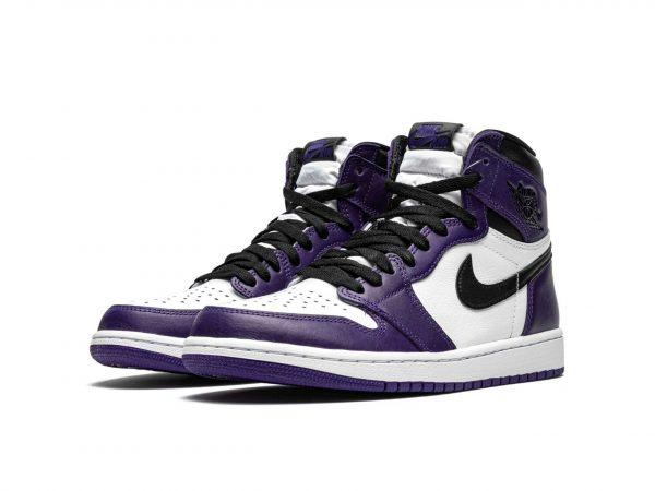 Nike Air Jordan 1 High White Court Purple 2.0 фиолетовые с белым кожаные мужские-женские (36-40)
