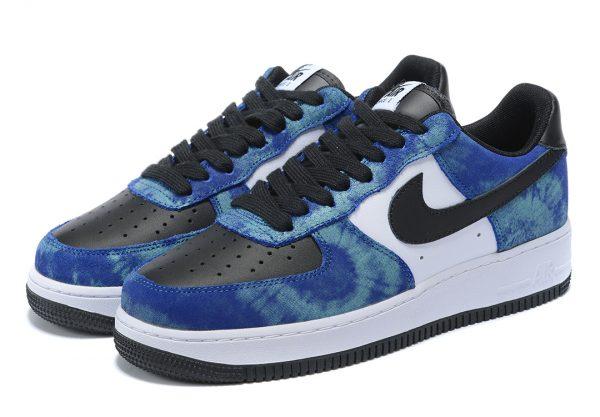 Nike Air Force 1 Low синие с черно-белым кожаные мужские (40-44)